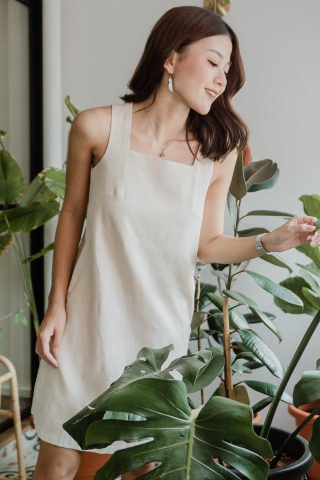 ACWxNatalie Linen Square Neck Shift Dress in Ecru