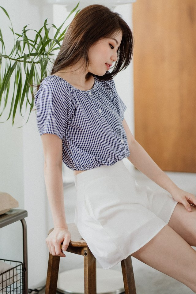 ACW Two Way Elastic Band Sleeve Top in Navy Gingham
