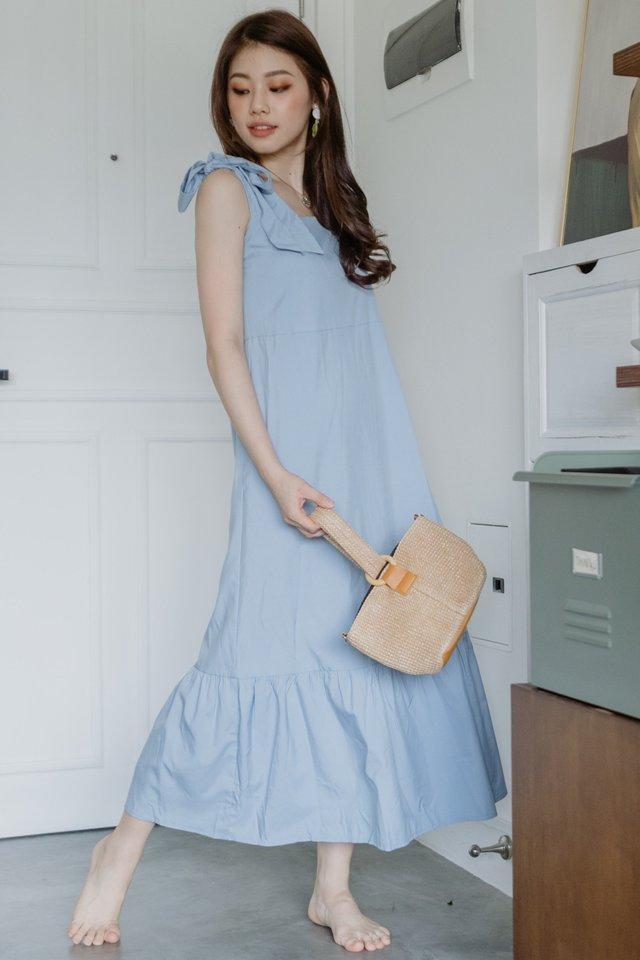 Tie Strap Drop Hem Maxi Dress in Sky Blue