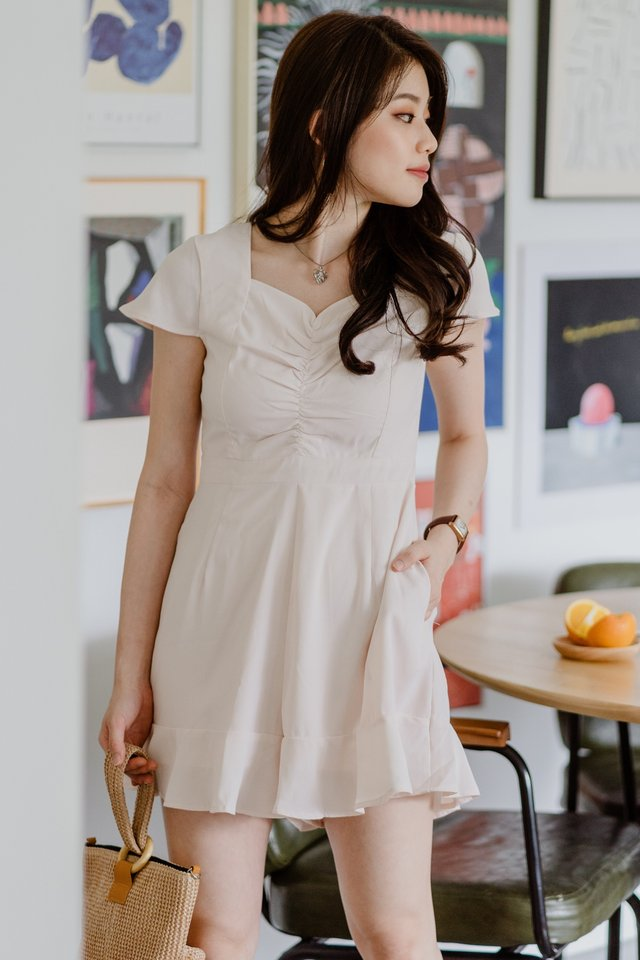 ACW Ruched Pocket Romper in Ivory