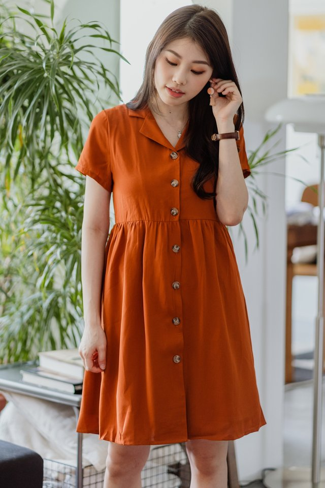 ACW Button Down Collar Babydoll Dress in Rust