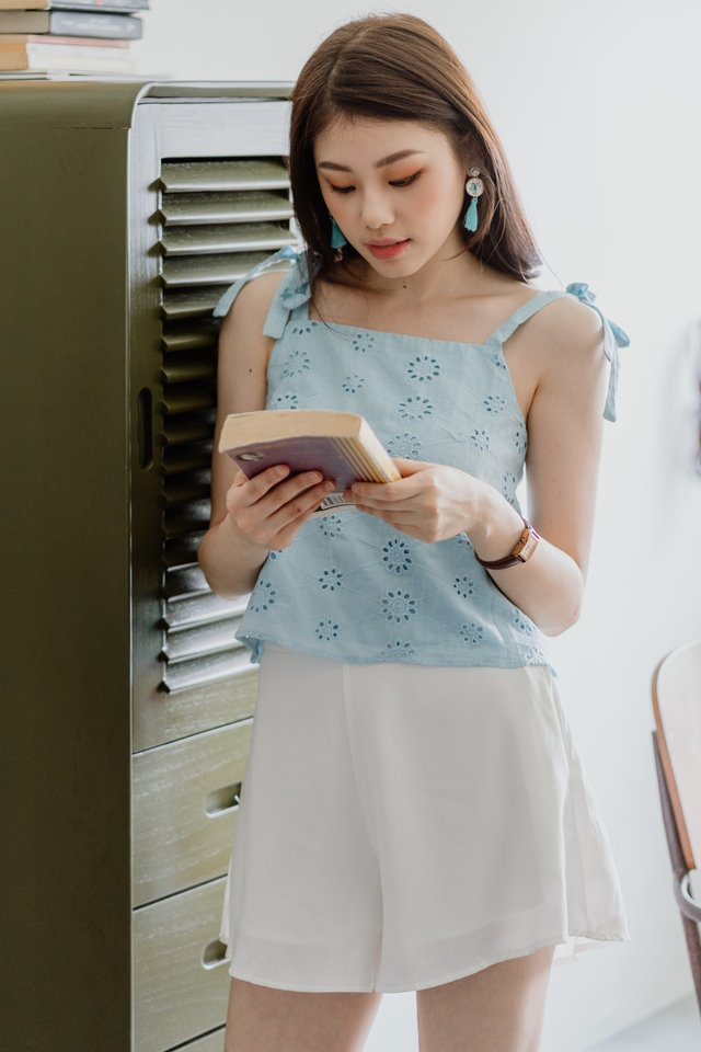 ACW Tie Strap Swing Top in Sky Blue Eyelet