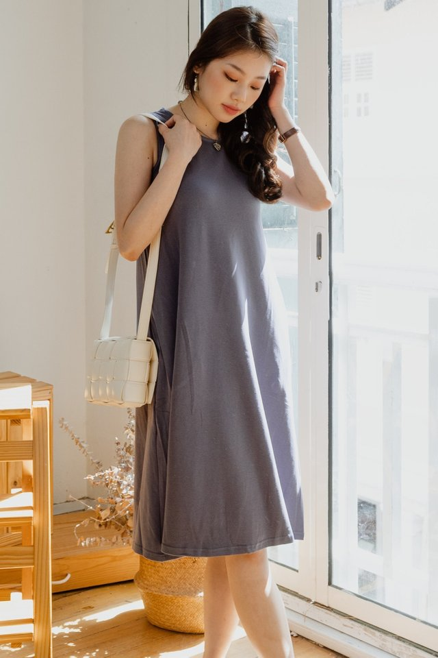 ACW Sleeveless Knitted Midi Dress in Stone Blue
