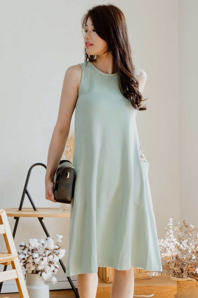 ACW Sleeveless Knitted Midi Dress in Sage