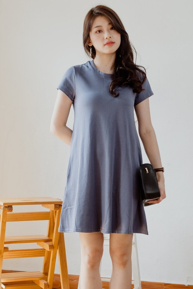 ACW Pocket A-Line Tee Dress in Stone Blue