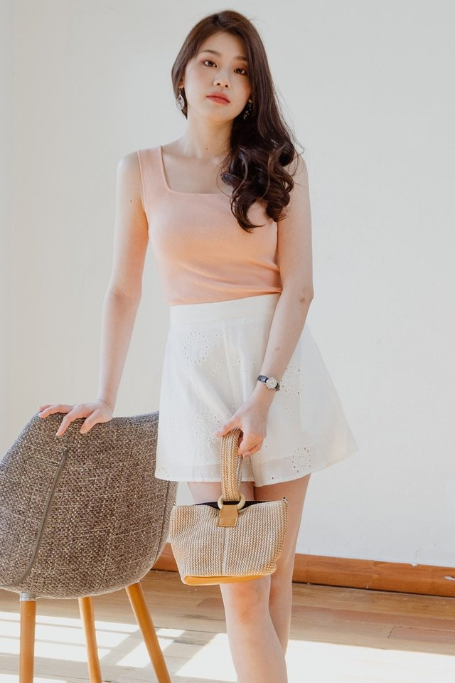 *BACKORDER* ACW Basic Square Neck Knit Top in Peach