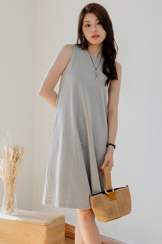 ACW Sleeveless Knitted Midi Dress in Grey