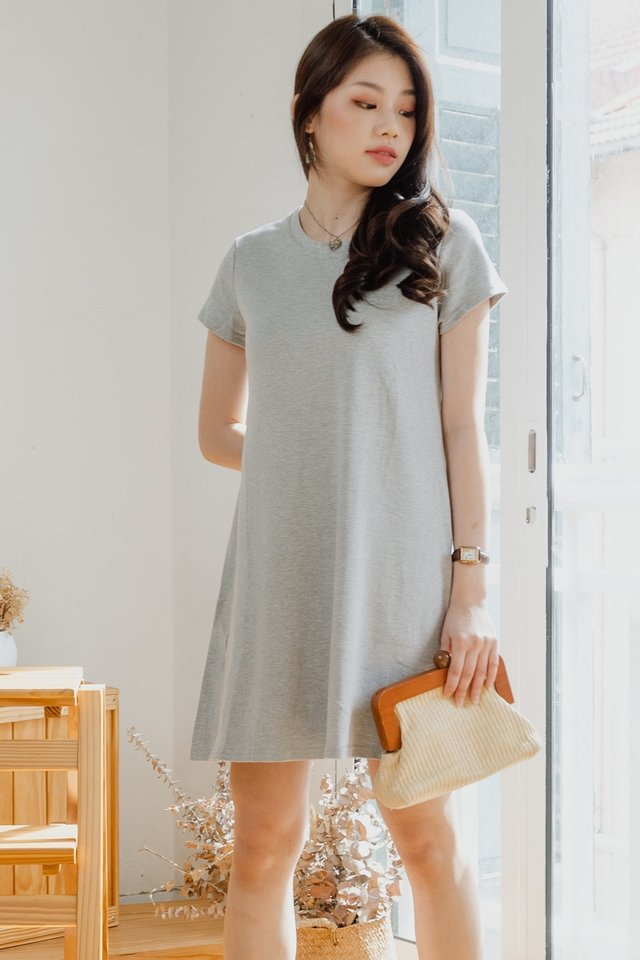 ACW Pocket A-Line Tee Dress in Light Grey