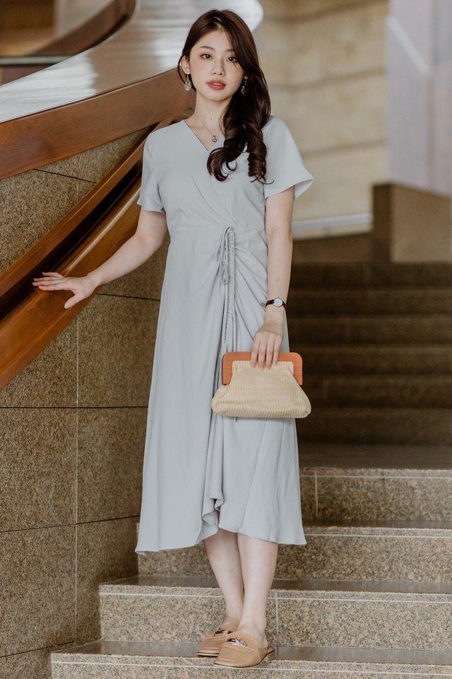 ACW Drawstring Ruched Midi Dress in Sage