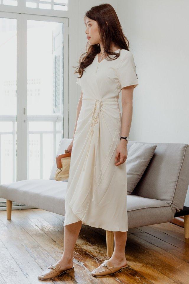 ACW Drawstring Ruched Midi Dress in Ivory