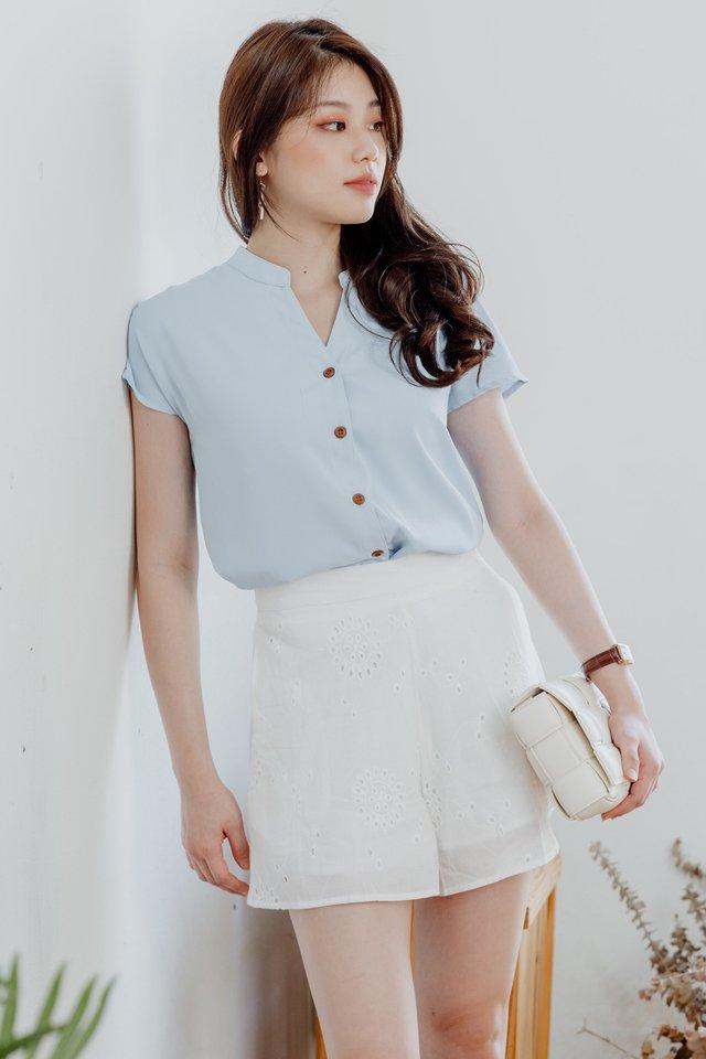 ACW Mandarin Collar Button Down Blouse in Powder Blue