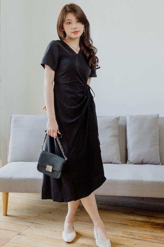 ACW Drawstring Ruched Midi Dress in Black