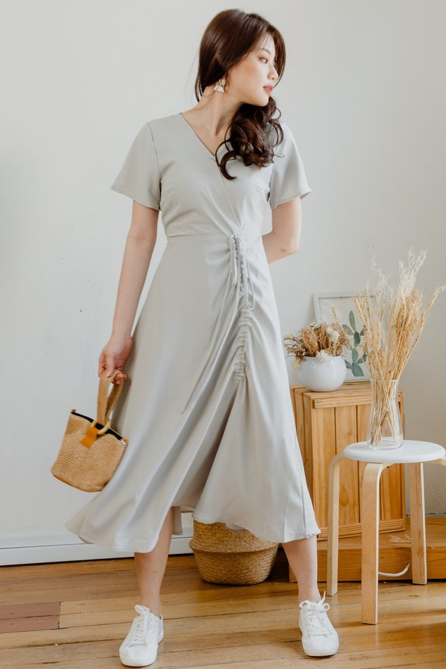 ACW Drawstring Ruched Midi Dress in Sage