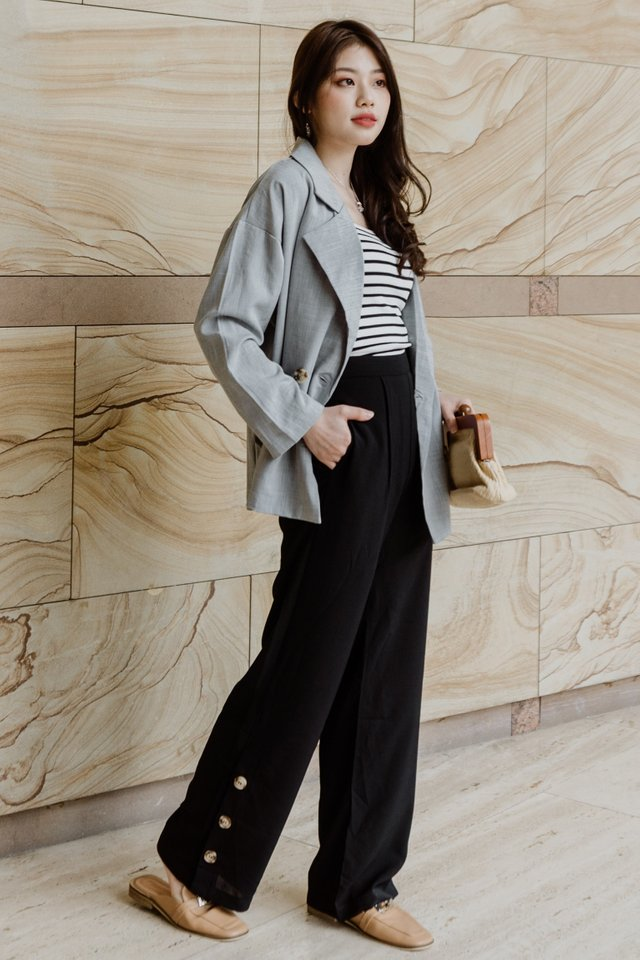 ACW Button Panel Flare Trousers in Black