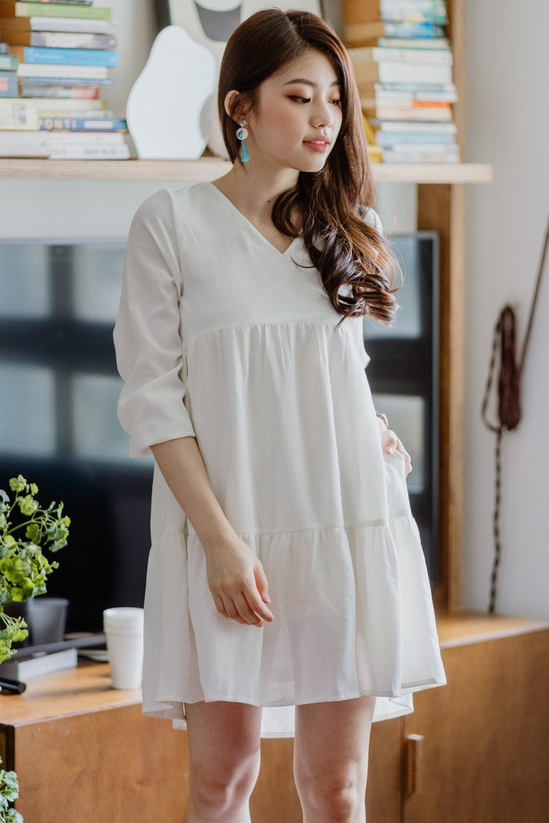 *Backorder* ACW Square Neck Tier Babydoll Dress in White
