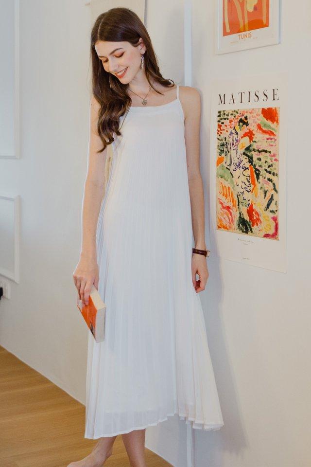 ACW Pleated Sash Maxi Dress in White