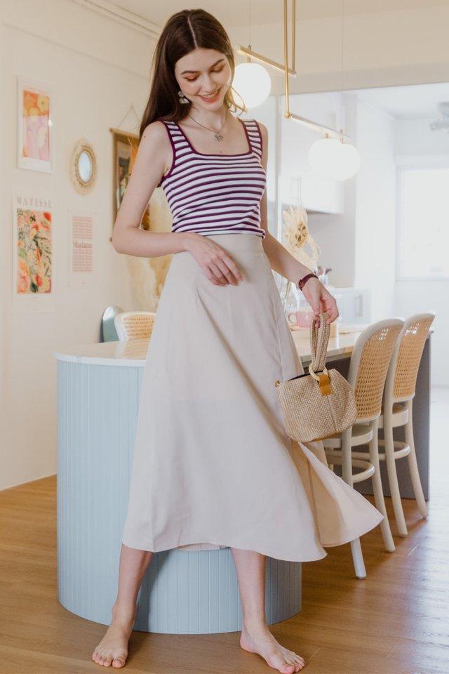 ACW Basic Slit Midi Skirt in Ivory
