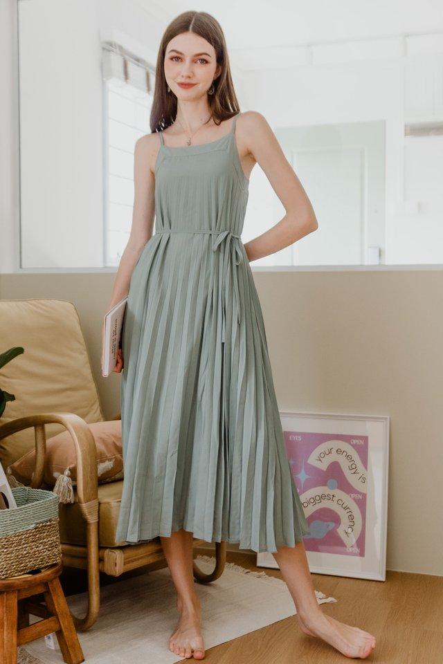 ACW Pleated Sash Maxi Dress in Jade