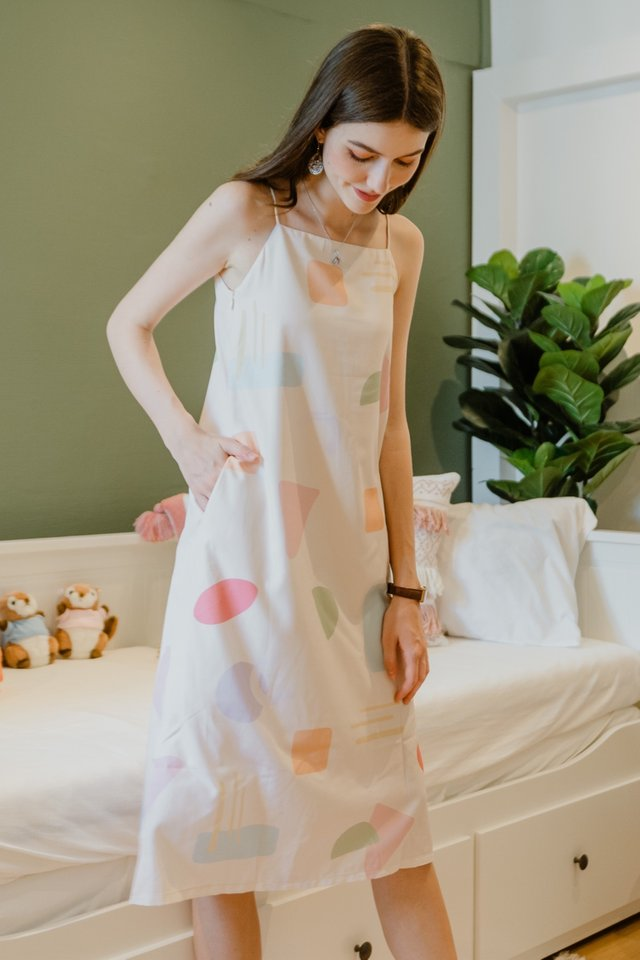 Two Way Abstract Shapes Midi Dress in Nude