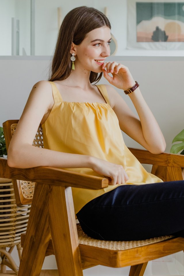 ACW Ruched Pleated Swing Top in Daffodil