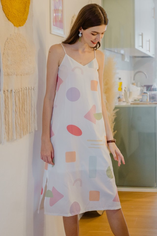 Two Way Abstract Shapes Midi Dress in White
