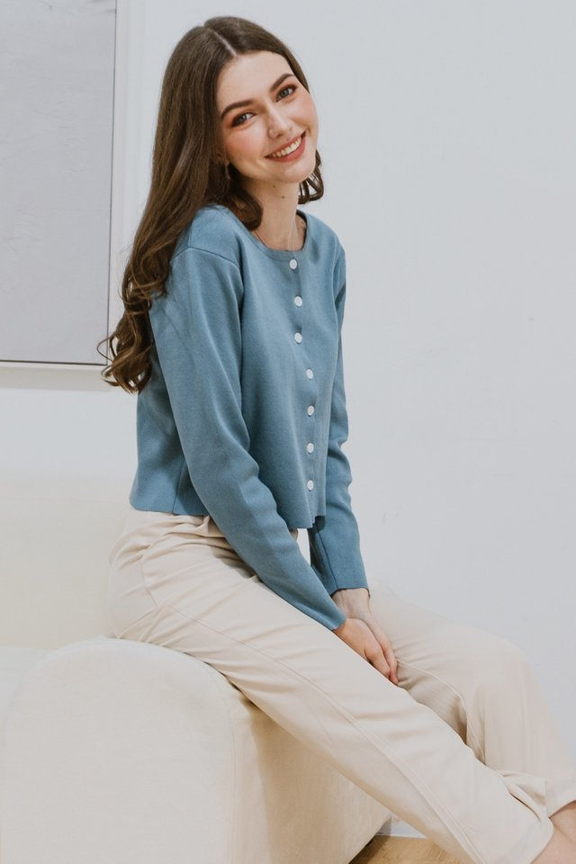 ACW Button Down Cardigan Knit Top in Stone Blue