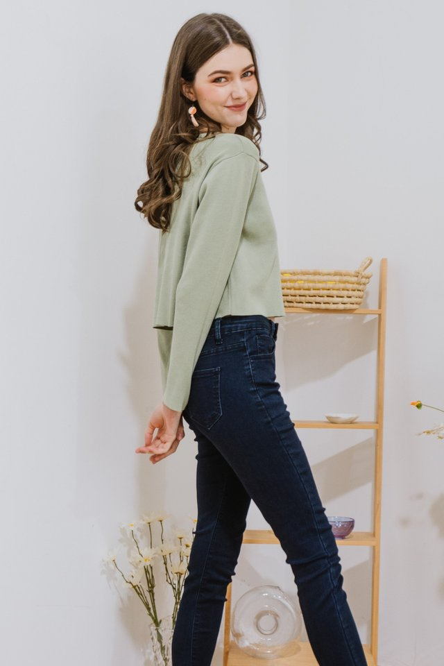 ACW Button Down Cardigan Knit Top in Sage