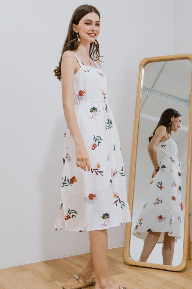 ACW Drawstring Midi Dress in Bloom White Floral