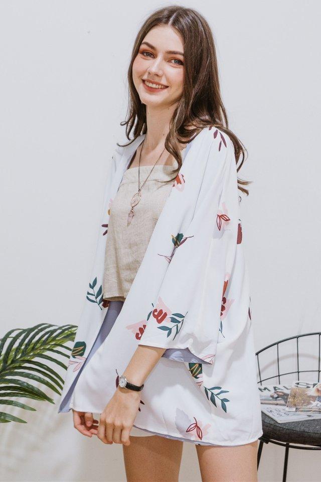 ACW Two Way Bloom Floral Reversible Kimono in White