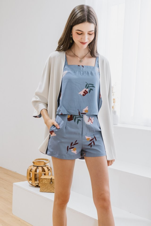 ACW Bloom Floral Pocket Shorts in Periwinkle Blue