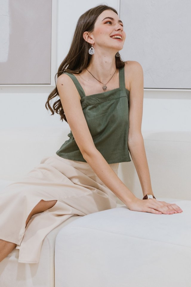 ACW Linen Thick Strap Top in Olive