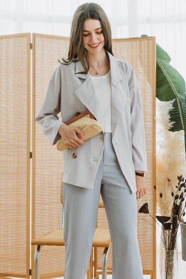 ACW Oversized Pocket Blazer in Soft Grey