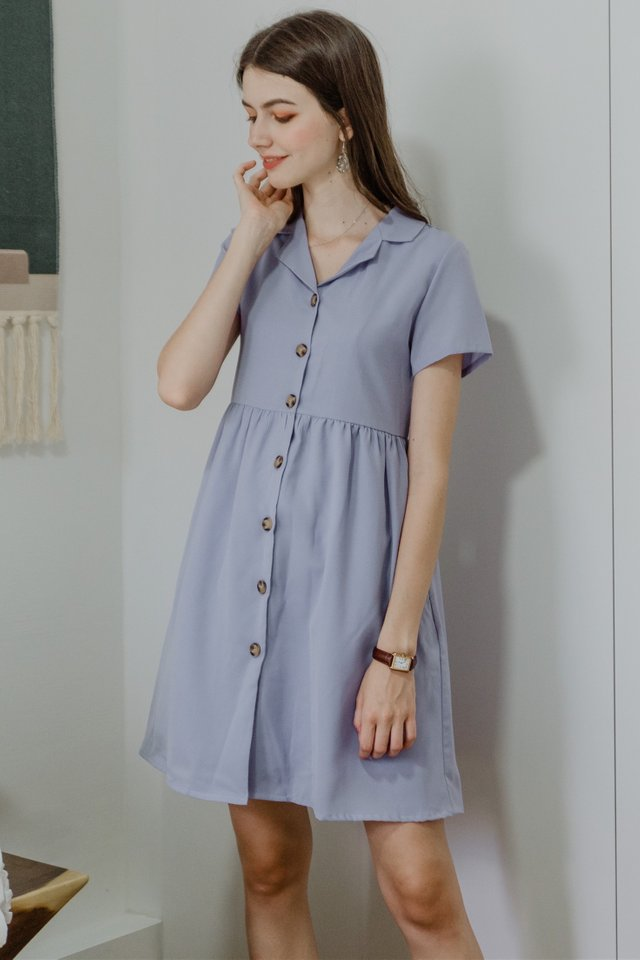 ACW Button Down Collar Babydoll Dress in Lavender