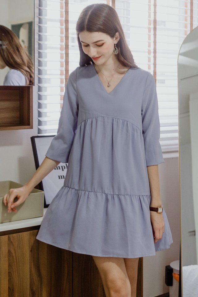 ACW Balloon Sleeve Tiered Babydoll Dress in Lavender
