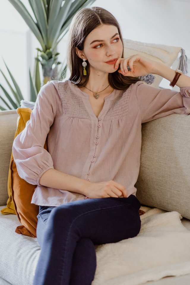 ACW Eyelet Button Down Blouse in Lavender