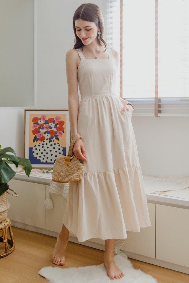ACW Thick Strap Drop Hem Zipper Maxi Dress in Ivory