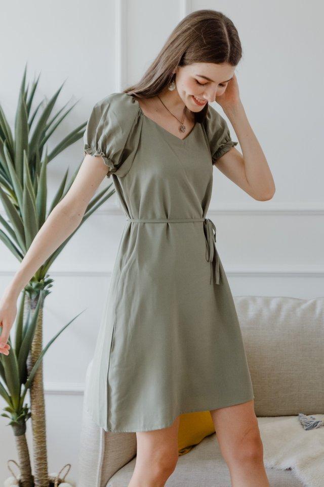 ACW Puff Sleeve Sash Shift Dress in Olive