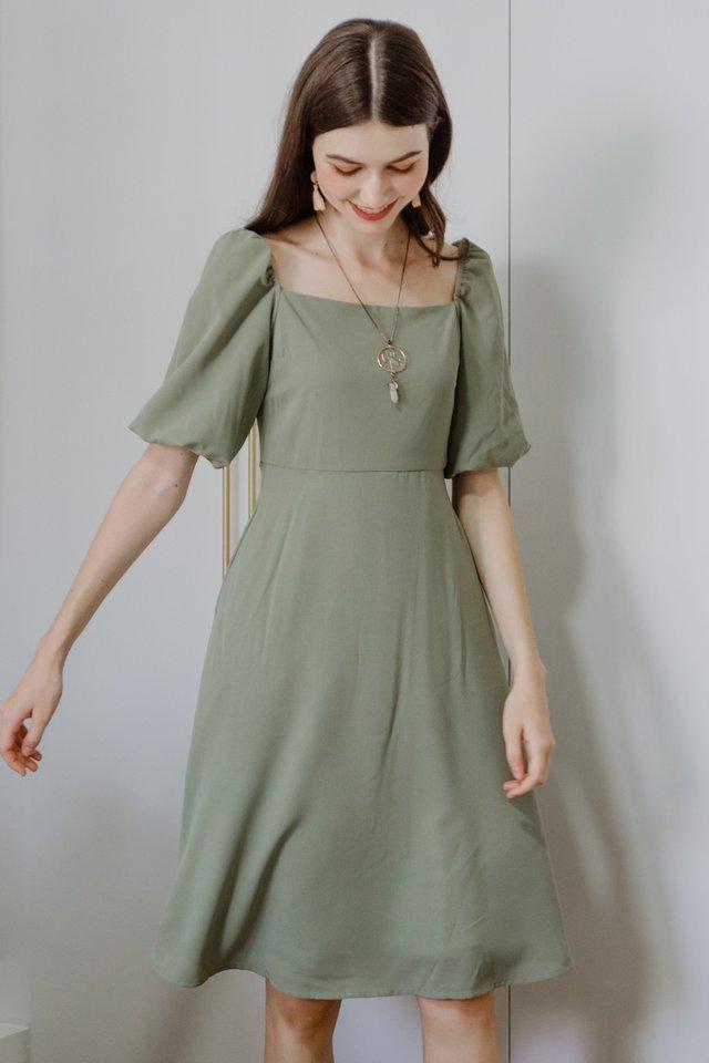 ACW Square Neck Midi Swing Dress in Olive