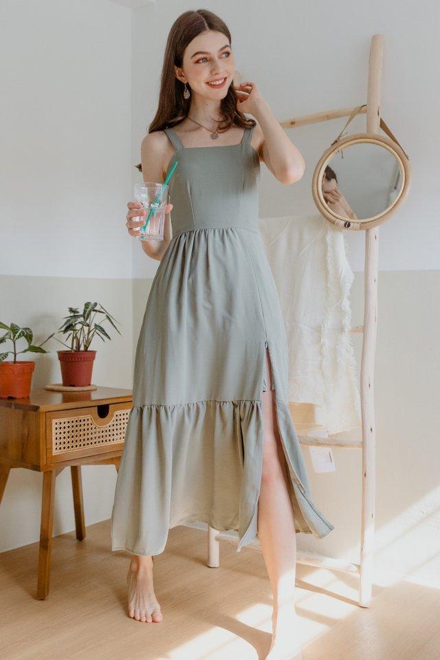 ACW Thick Strap Drop Hem Zipper Maxi Dress in Olive