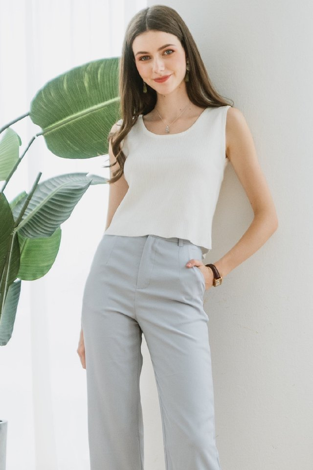ACW Basic Ribbed Knit Top in White