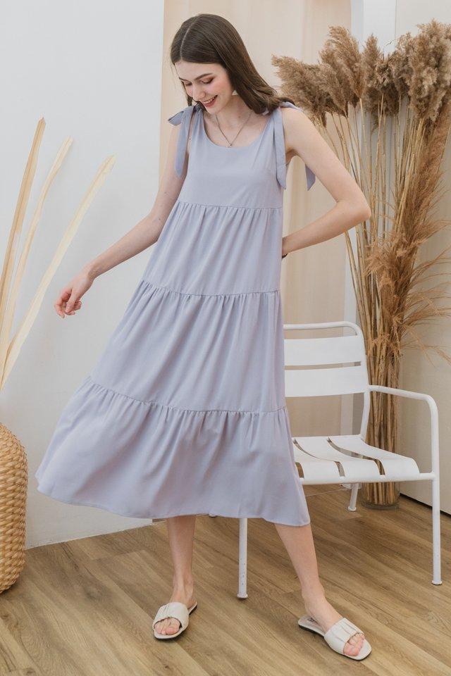 ACW Faux Tie Strap Tier Maxi Dress in Lavender