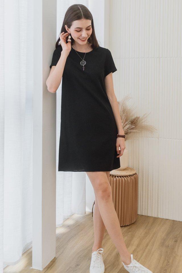 ACW Linen Sleeve Shift Dress in Black