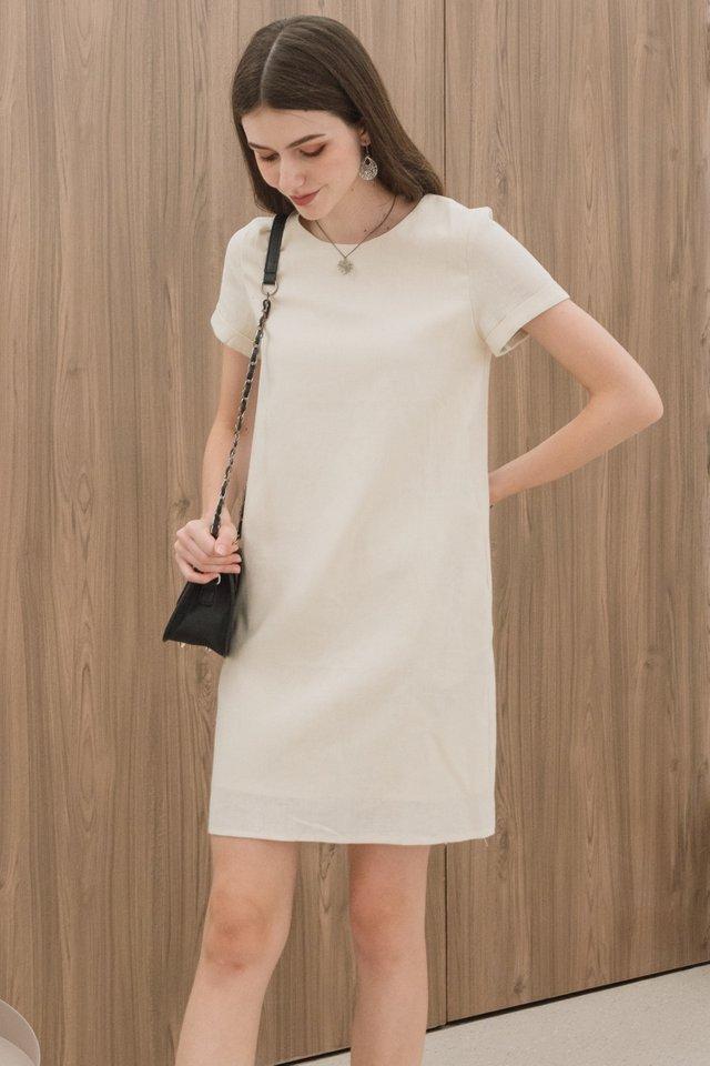 ACW Linen Sleeve Shift Dress in Ecru