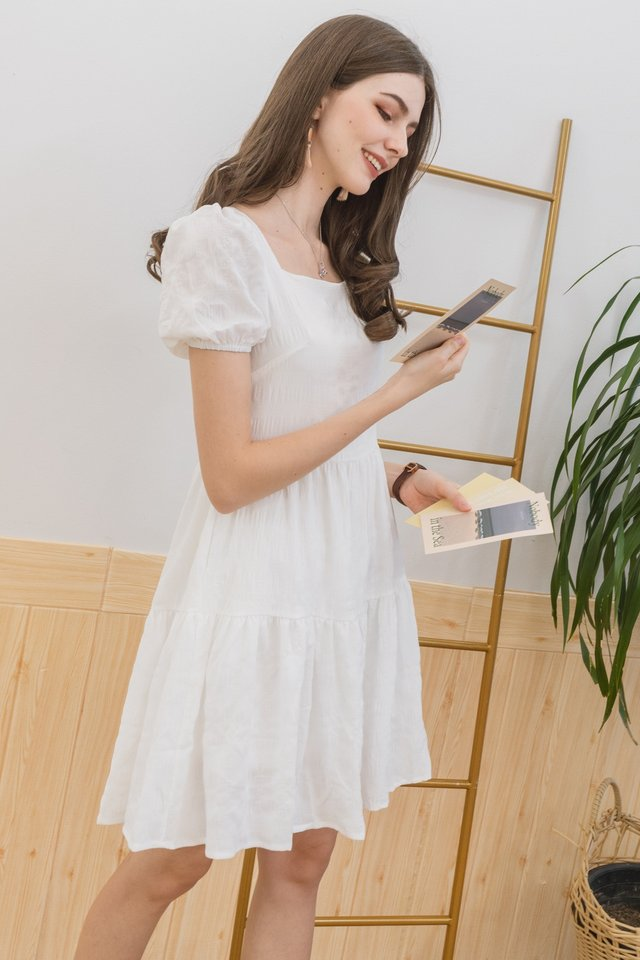 ACW Puff Sleeve Textured Babydoll Romper Dress in White