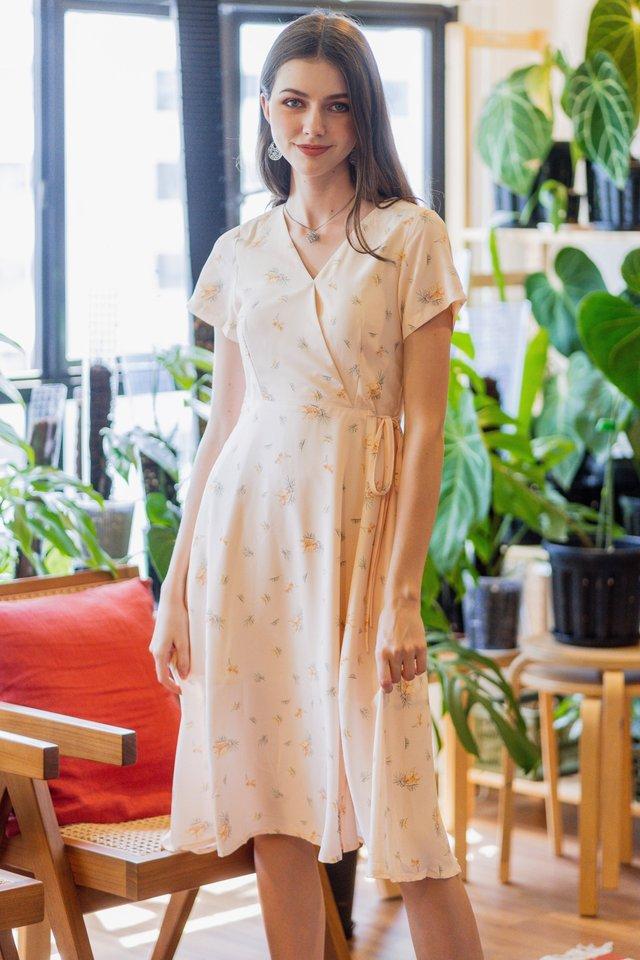 ACW Dandelion Wrap Midi Swing Dress in Cream