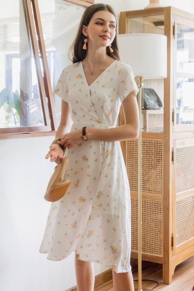 ACW Dandelion Wrap Midi Swing Dress in White