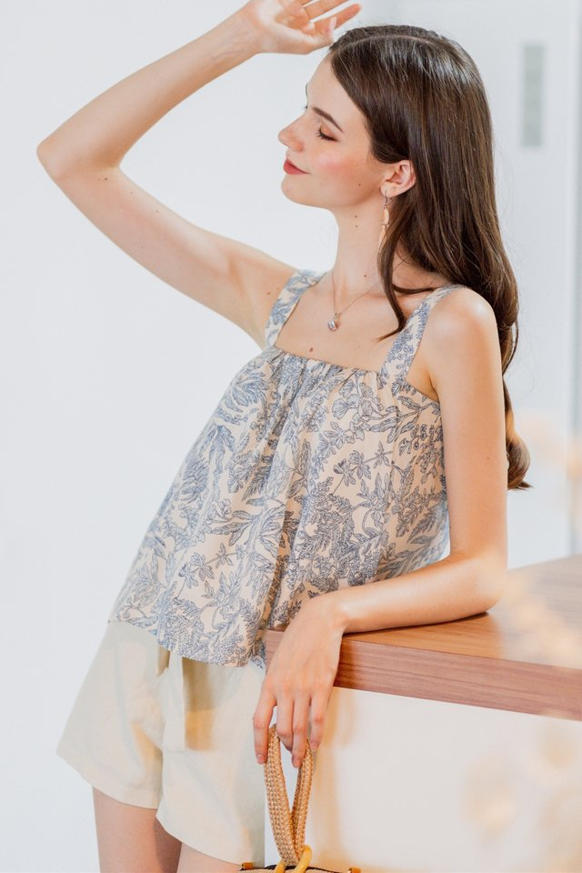 ACW Ruched Rustic Leaves Top in Blue