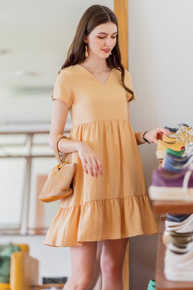 ACW Sleeved Drop Hem Babydoll Dress in Daffodil