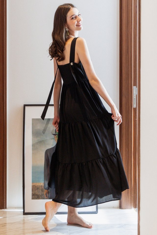 ACW Adjustable Button Tiered Maxi Dress in Black
