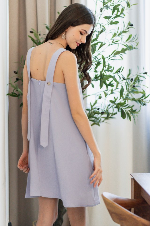 ACW Thick Strap Adjustable Button Swing Dress in Lavender